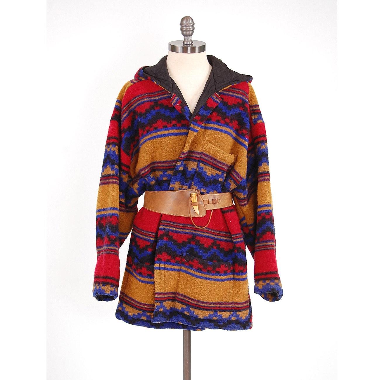 Vintage 80s Southwestern Blanket Coat / By Digvintageclothing