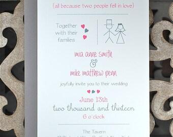 Casual Wedding Invitations, Casual Wedding, Stick Figure Wedding Invitations, Stick Figures, Whimsical Wedding - Stick Figures