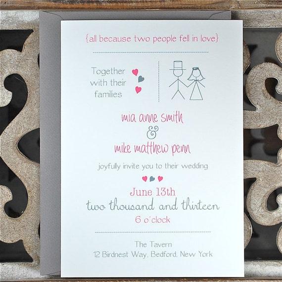 Casual Wedding Invitations Stick Figure