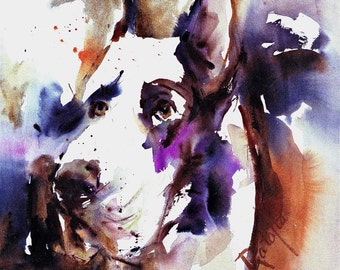Great Dane Watercolor dog print SIGNED by the Artist Carol Ratafia DOUBLE MATTED to 16x20