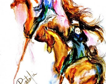 Two Riders in The Class - Watercolor Fine Art Horse Print signed by the Artist Carol Ratafia double matted to 16X20