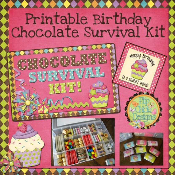 Printable Birthday Chocolate Survival Kit