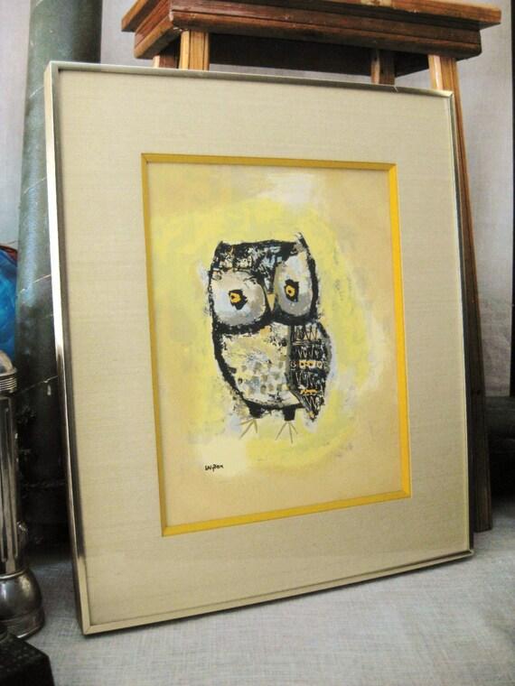 Vintage Margaret Layton Framed Owl Print Vintage Art Gallery