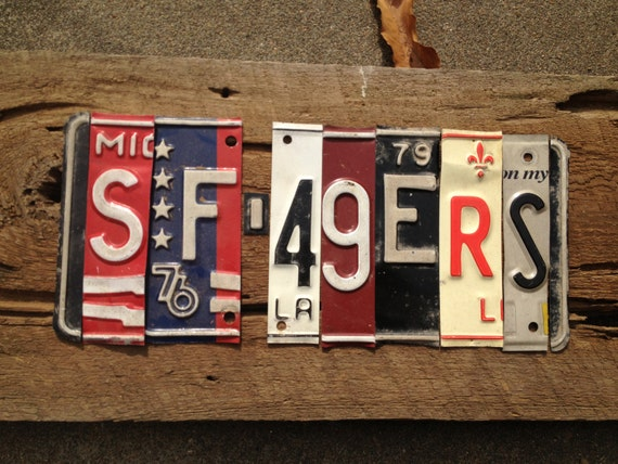 OOAK SF 49ers Superbowl 2013 NFL football sports upcycled license plate art sign tomboyART tomboy
