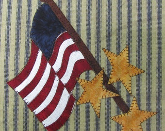 Flag That I Love Applique  PDF Pattern for Tea Towel