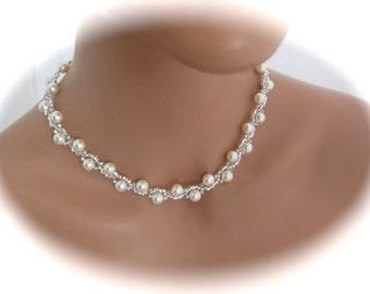Bridal Pearl Necklace Wedding Jewelry Swarovski ivory pearl bridal jewelry