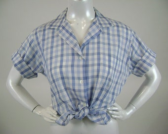 Vintage 1960s Blouse, Susan  by Van Heusen Short Sleeve Button Front Womens Shirt, Blue and White Plaid, Vintage Sz 18, B44 W42