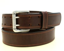 """Men Or Women's 1 1/2"""" Sunset Brown Harness Leather Belt With Double Hole and Saddle Groove Made In America"""