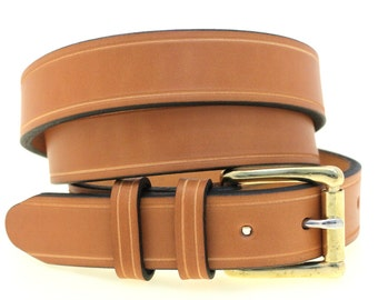 "Men's 1 1/4"" Tan English Bridle Leather Belt With Saddle Groove Double Loop Solid Brass Roller Buckle Nickel-Free American Made"