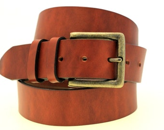 """Made In USA 1 1/2"""" Men Or Women's Belt Light Brown Oil Tanned Latigo Leather Double Loops Antique Brass Buckle"""