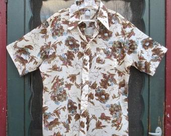 "Vintage 1970's Hipster Disco ""JP2"" Designer Man's Shirt  Polyester Crepe w/Bucolic Pattern- sz L"