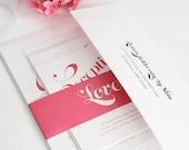 Pink Wedding Invitation - Delightful Script Design - Simple, Pink, Cute Wedding Invitation with Belly Band - Sample Set