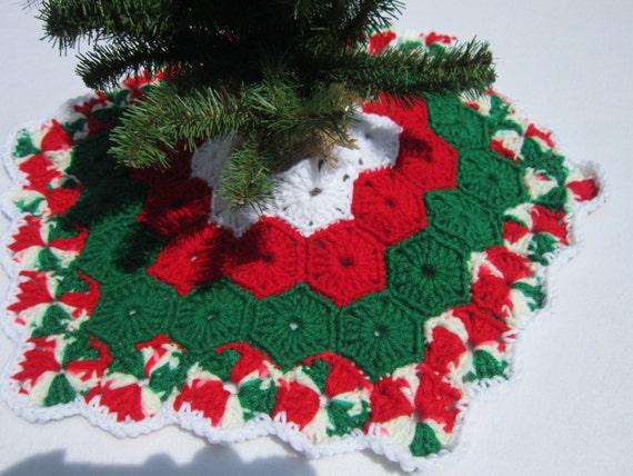 Crochet Xmas Tree Skirt : Crochet Mini Christmas Tree Skirt by crochetedbycharlene on Etsy