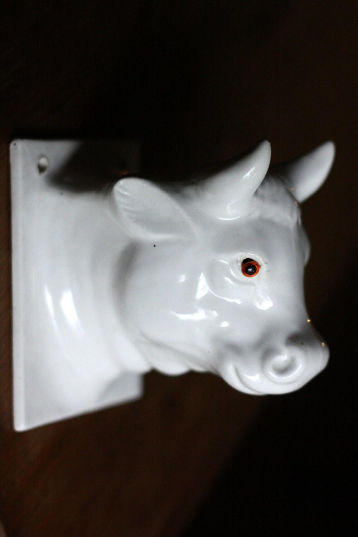 Ceramic Milk Cow Head Apron Towel Holder White Japan