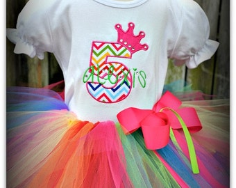 Rainbow number crown Birthday Tutu Outfit