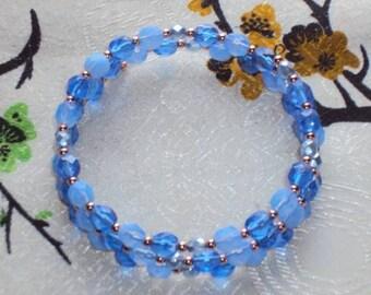 AZURE HAZE Glass Beads - Memory Wire Wrap Coil Bracelet