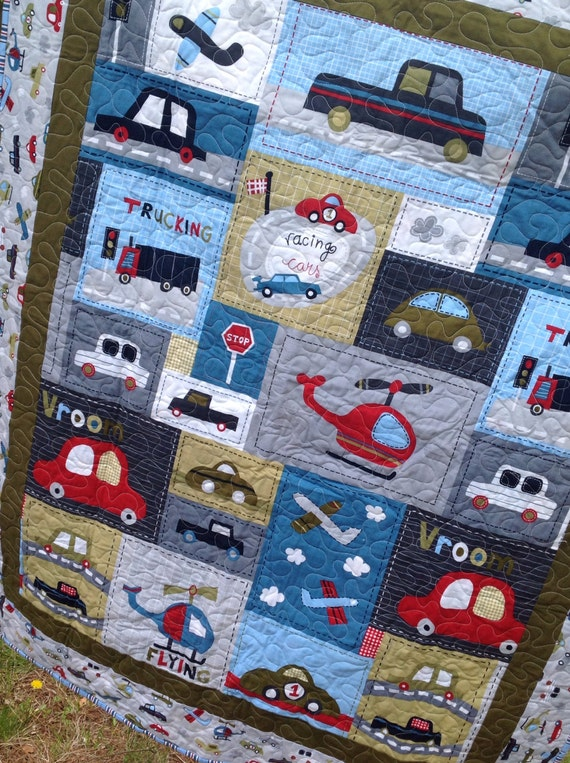 Made To Order Baby Boy Crib Quilt Vroom Cars Trucks