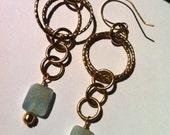 Aquamarine Gemstone Earrings, Pale Aqua Stones and  Chain Earrings, 24 KT Gold Overlay, Long Dangle Earrings