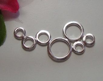 925 Sterling Silver Bubble Connector Link,  7 Circles Connector, Link, 4 pcs, 29x16mm, Thai Handmade