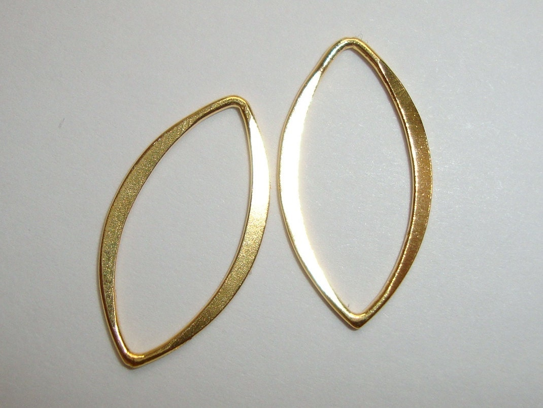 20x10mm 2 Pcs 18k Gold Sterling Silver Hammered Marquis