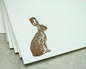 Letterpress note cards 10 pk - Hare