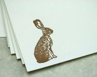 SALE - Letterpress note cards 10 pk - Hare - 50% off