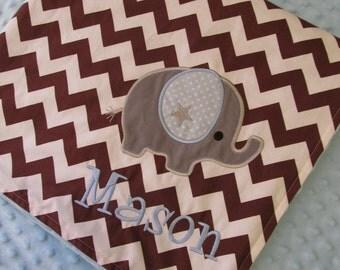 Personalized Baby Blanket 30x35- Minky Baby Blanket- Chevron Minky Blanket- Applique Baby Blanket- Chevron- Elephant Baby Blanket