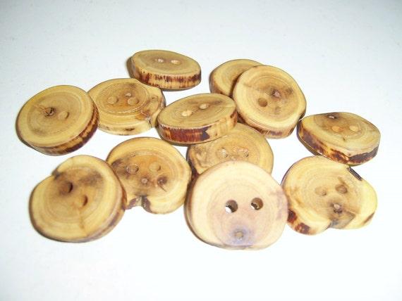 """12 Handmade plum  wood  buttons, accessories (0,98"""" diameter x 0,20"""" thick)"""