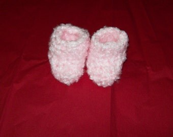 Fuzzy Baby Bootie Socks Pink Baby Booties Slipper Socks 6 - 12 months