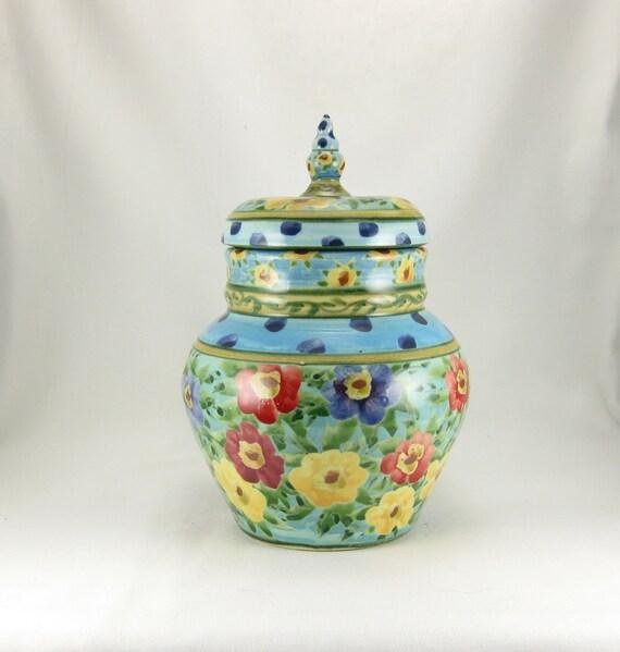 Large blue handmade porcelain lidded jar with polka dots