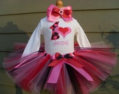 Custom Tutus...HAPPY HEARTS tutu set...birthday, valentine tutu, size 3,6,9,12,18,24 months and 2T,3T,4T,5T,6T princess,costume, dress up