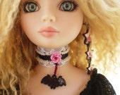 Gothic Lolita Vampire Bat Collar with Pink Metal Rose for Ellowyne Wilde and Delilah Noir