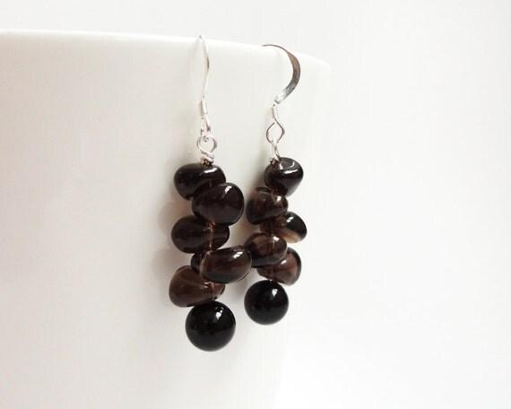 Brown black stone earrings onyx smoky quartz silver rocker elegant ooak