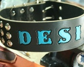 "Custom Dog Collar - 2"" wide ALPHA vivid STAMPn'STUD - Personalized Studded Leather Dog Collar"