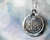 Letter Wax Seal Necklace, Silver Initial Letter Jewelry, Silver Monogram Necklace, Personalized Custom Stamped Letter Pendant