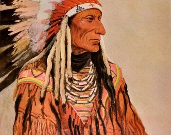 Circa 1904 Chief Short Bull Sioux  Native American Image suitable for framing.