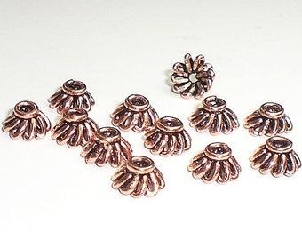 6mm Genuine Copper Bead Caps 12 pcs.  GC-162