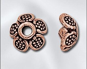 Genuine Copper 9mm Flower Bead Cap 12 pcs GC-115