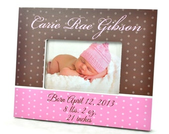 Personalized Picture Frame for 4x6 Photo Baby Girl Baby Boy Custom Frame Gift UPBB-01