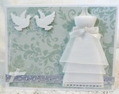 Wedding Card Handmade Teal Blue with White Dress - luvncrafts