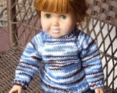 Winter Blue Sweater for American Girl and other 18 Inch Dolls