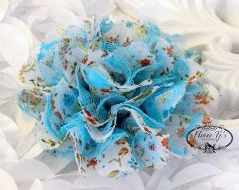 """NEW : 2 pieces 3.5"""" Shabby Chic Frayed Chiffon Mesh and Lace Rose Fabric Flower - Floral Garden Blue lace"""