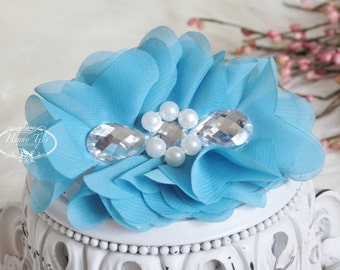 New: Reign Collection 2 pcs Silk Fabric Flowers with Rhinestones - Light Turquoise Blue floral embellishments Layered Bouquet fabric flowers