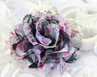 "NEW : 2 pieces 3.5"" Shabby Chic Frayed Chiffon Mesh and Lace Rose Fabric Flower - White fabric w/ pink Floral patterned w/ black lace"