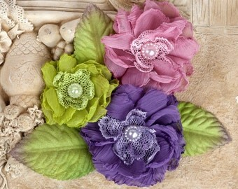 "NEW: ""Paquita"" Meadow 566432 Purple/ Dusty Rose/ Lime Green Chiffon lace fabric flowers with Green leaves"