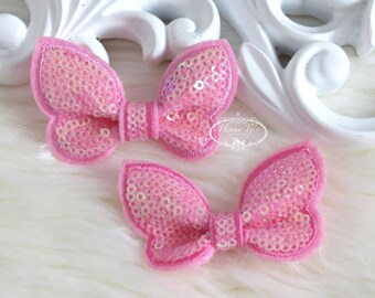 New: Set of 4 Candy Pink SEQUIN Butterfly BOW Appliques 2.25 inch size