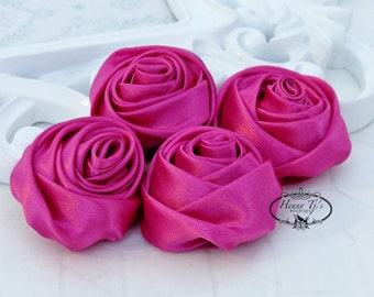Set of 4 -  50mm Adorable Rolled Satin Rose Rosettes Fabric flowers - HOT PINK