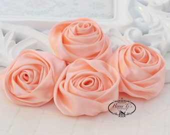 Set of 4 -  50mm Adorable Rolled Satin Rose Bud  Rosettes Fabric flowers - BaBY PEACH / Apricot