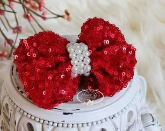 NEW: The Evaria - 2 pcs RED Sequin Bow with pearls center for Bridal Sashes, Fascinator or Hat Design Appliques July 4th, Christmas .