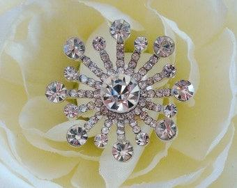 6 pcs - 26mm Silver / Black Metal Plated Crystal Rhinestone Buttons Fireworks Shape - wedding / hair / dress / garment accessories
